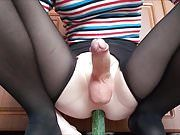Playing with cucumber and jerking until cumming