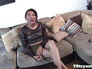 Casting ladyboy interviewed before sucking