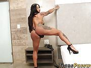 Tattooed tgirl Rosi Pinheiro tugging and stroking solo