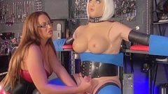 Tranny Dolly Milking Handjob by Big Tit Mistress