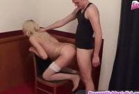 Skinny german blond tranny shemale anal at chair