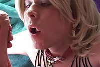 Sissy slut sucking cock and gets facialized