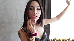Beautiful ladyboy receives rough anal railing with big cock