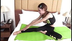 Cute ladyboy POV in fitness outfit