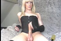 ts blonde big cock cum